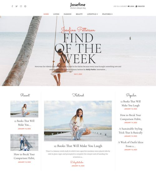 Josefine Women Lifestyle Ready Made WordPress Blog Website Theme