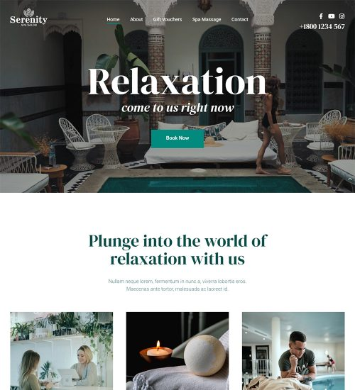 Serenity Spa And Salon Ready Made WordPress Website Theme