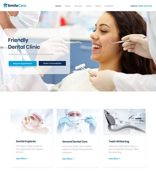 SmileCare Dental Clinic Ready Made WordPress Website Theme
