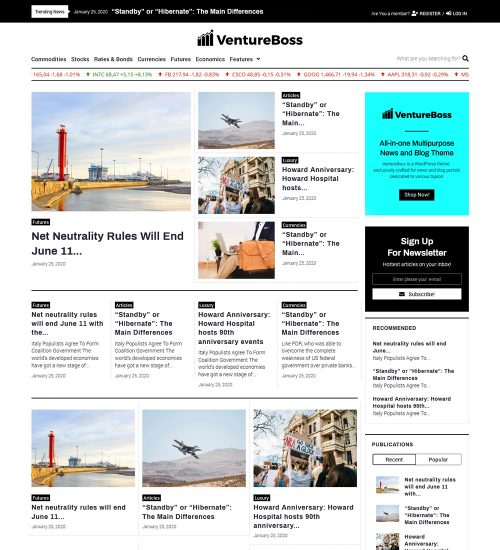 VentureBoss Business And Corporate ready Made Wordpress Blog Website Theme