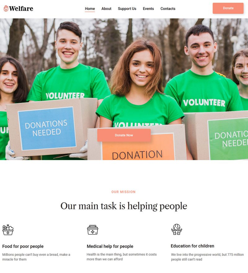 Welfare Charity And Non Profit Organization Ready Made Website Theme