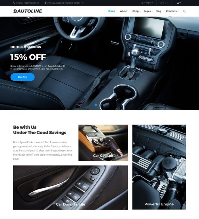 Autoline Car Parts Online eCommerce Store Ready Made WooCommerce Website Theme