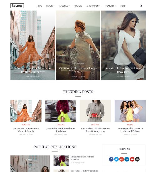Beyond Fashion Beauty And Lifestyle Ready Made WordPress Blog Website Theme