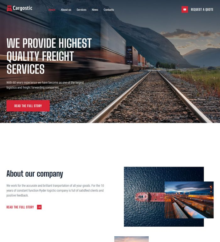 Cargostic Logistic And Cargo Service Ready Made WordPress Website Theme