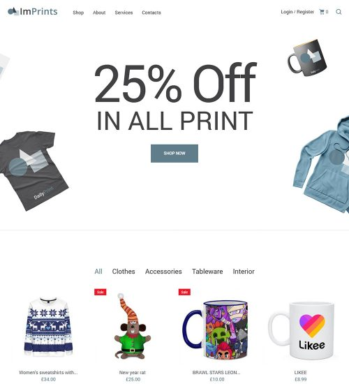 ImPrints Printing Service eCommerce Store Ready Made WooCommerce Website Theme