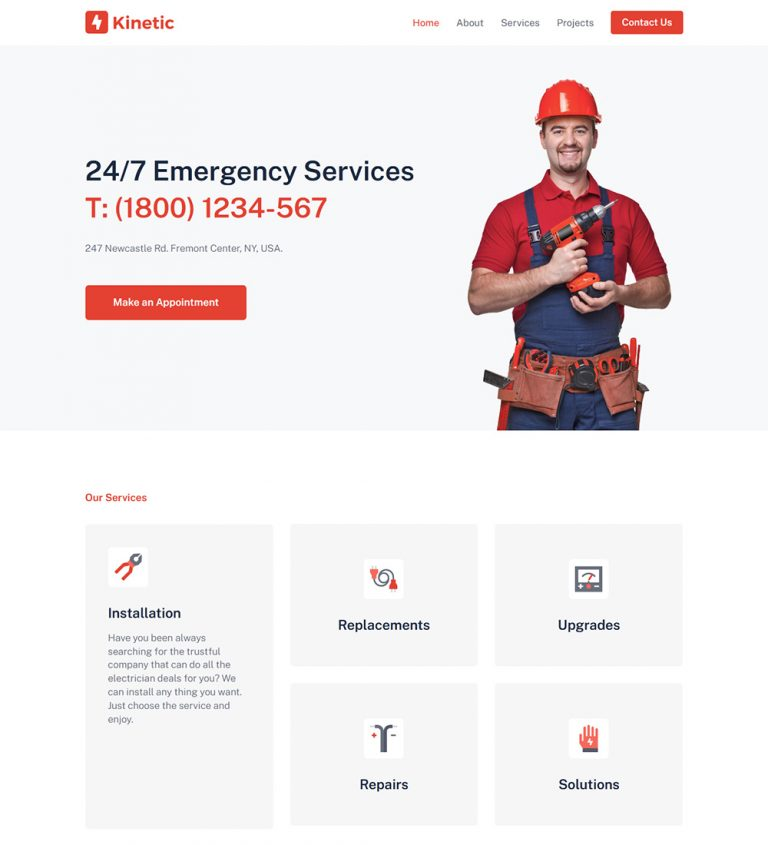 Kinetic Electronic Products Repairing Services Ready Made WordPress Website Theme