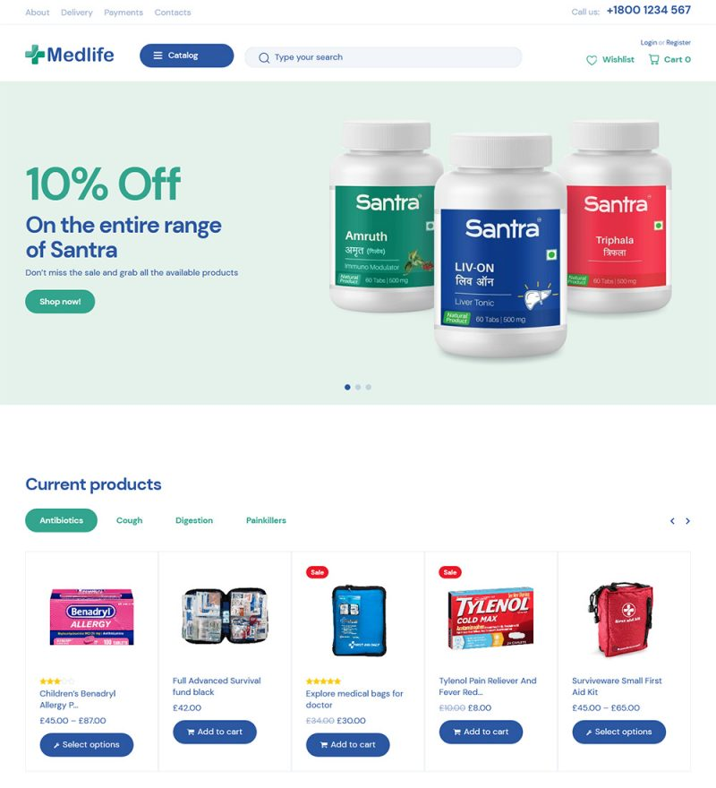 Medlife Pharmacy And Medical eCommerce Store Ready Made WooCommerce Website Theme