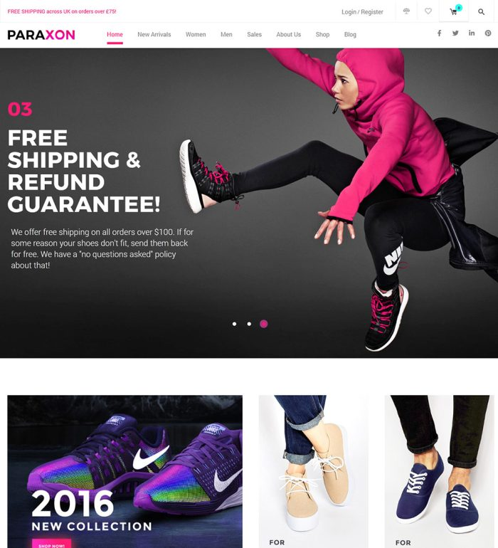 Paraxon Sport Footwear And Cloths Online eCommerce Store Ready Made WooCommerce Website Theme