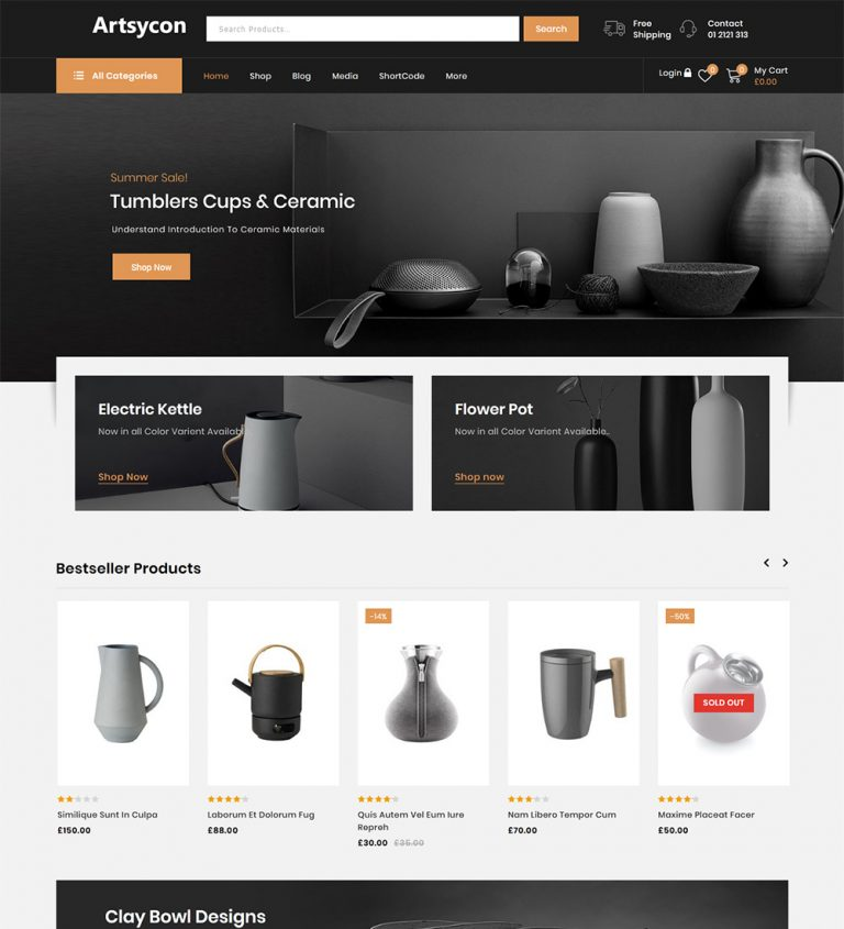 Artsycon Art And Gallery Online Store eCommerce Ready Made WooCommerce Website Theme
