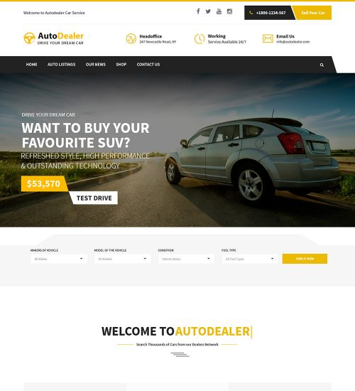 Autodealer Car Rental Ready Made WordPress Website Theme