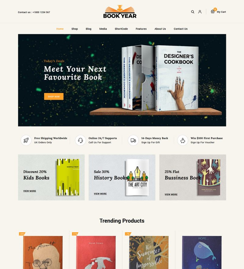 BookYear Book Store eCommerce Ready Made WooCommerce Website Theme