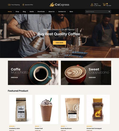 CoExpress Coffee Online eCommerce Store Ready Made WooCommerce Website Theme