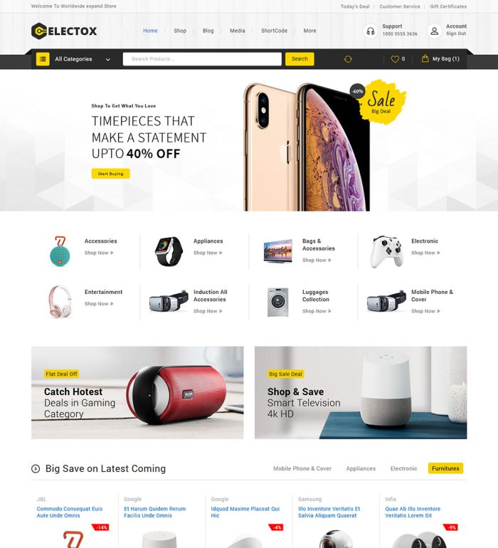 Electox Electronic Products Online Shop eCommerce Store Ready To Go WooCommerce Website Theme