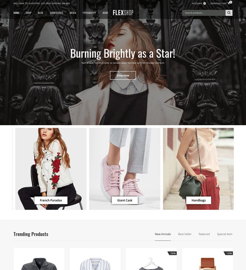Flexshop Fashion Online eCommerce Store Ready Made WooCommerce Website Theme