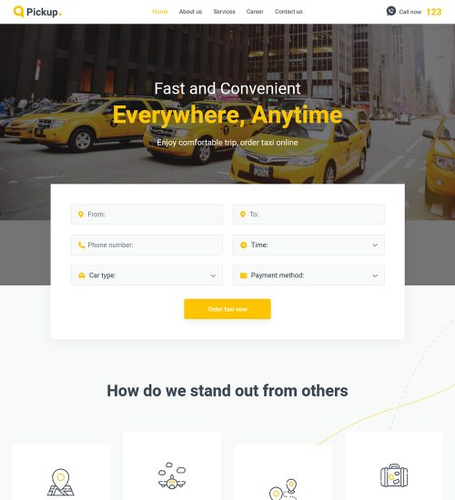 Pickup Fast And Reliable Taxi Service WordPress Website Theme