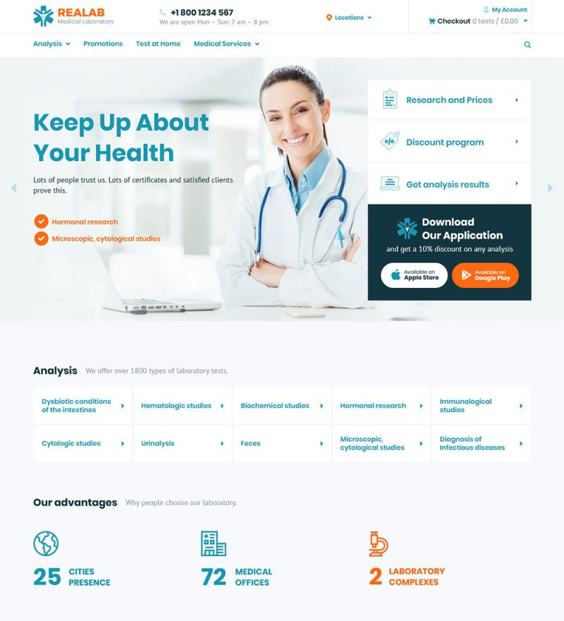 Realab Medical Laboratory and Clinic Ready to Use WordPress Website Theme