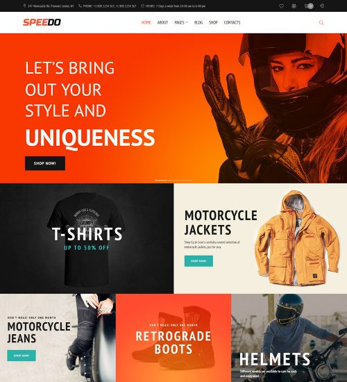 Speedo Cars And Motorcycles Equipment Online eCommerce Store Ready Made WooCommerce Website Theme