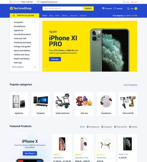 TtechnoShop Electronics Products Online Shop eCommerce Store Ready to Use WooCommerce Website Theme