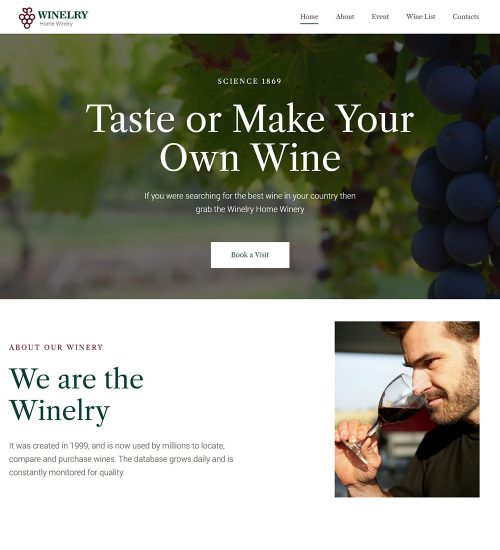 Winelry Wine Tasting Ready to Use WordPress Website Theme