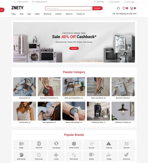 Znetly Home Appliances Electronic Items Beauty Accessories Online eCommerce Store Ready Made WooCommerce Website Theme