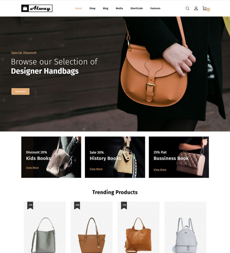 Alway Bag And Leather Products Online eCommerce Store Ready Made WooCommerce Website Theme