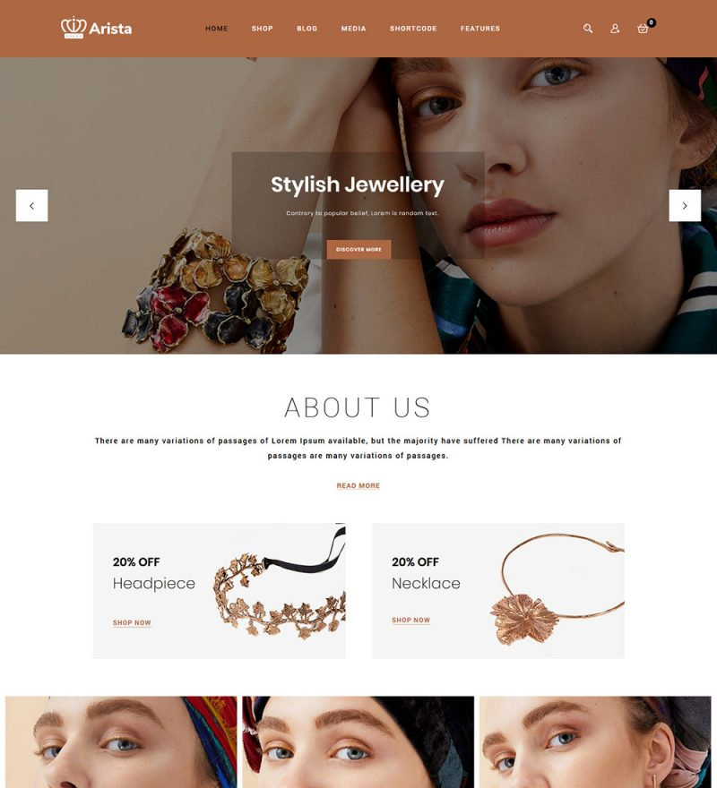 Arista Modern Jewelry eCommerce Store Ready Made WooCommerce Website Theme