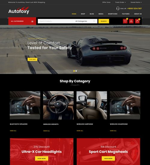 Autofoxy Car Parts Online eCommerce Store Ready Made WooCommerce Website