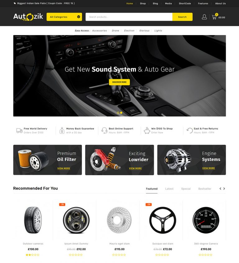 Autozik Auto Spare Parts Online eCommerce Store Ready Made WooCommerce Website Theme