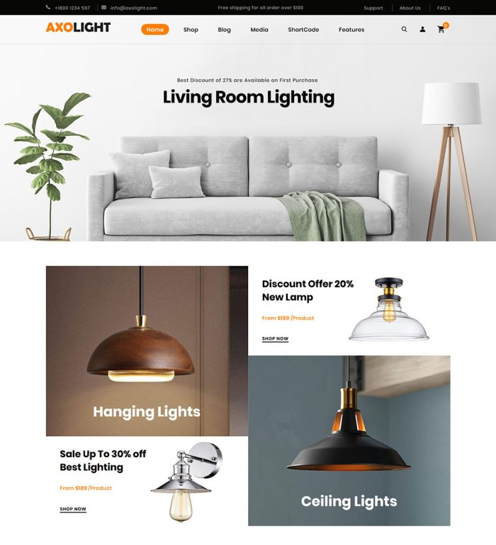 Axolight Home Lights Online Store eCommerce Ready Made WooCommerce Website Theme
