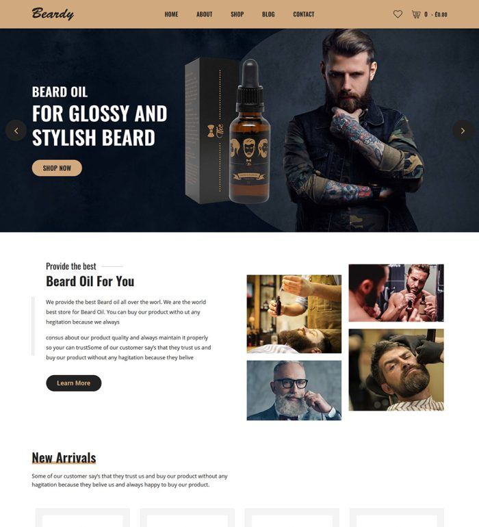 Beardy Barber Hair Salon Products eCommerce Store Ready Made WooCommerce Website Theme