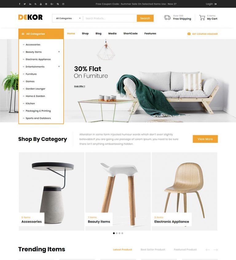 Dekor Home Decor Online Decorative Items eCommerce Store Ready Made WooCommerce Website Theme