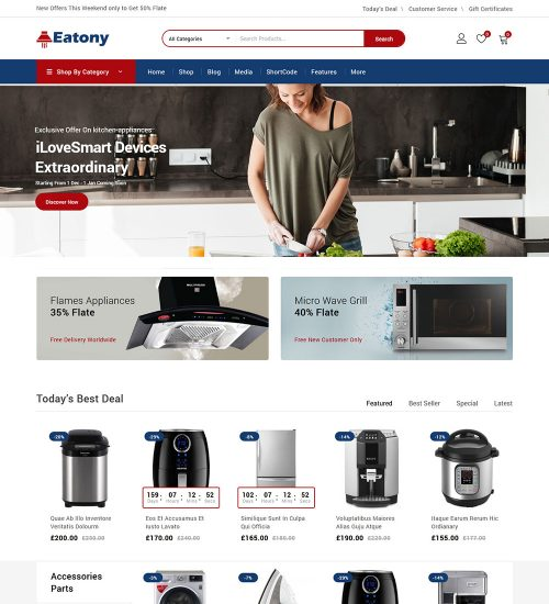 Eatony Kitchen Appliances eCommerce Store Ready To Use WooCommerce Website Theme