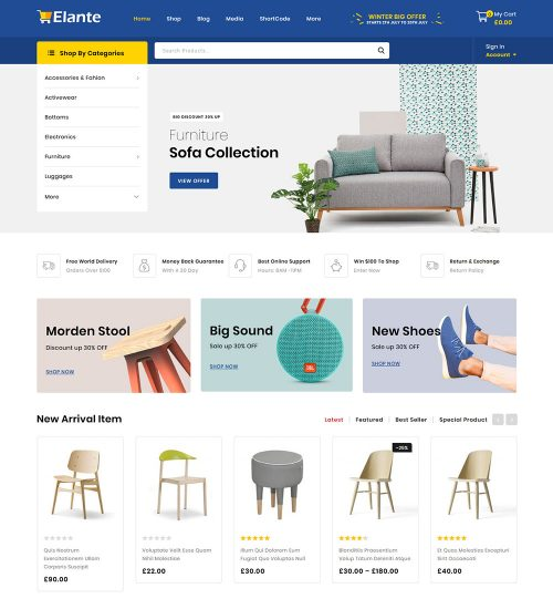Elante Multipurpose Online eCommerce Store Ready To Use WooCommerce Website Theme