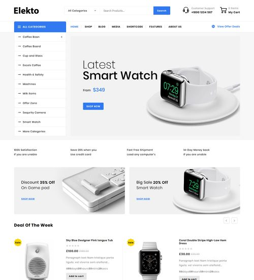 Elekto Electronic Products eCommerce Store Ready To Go WooCommerce Website