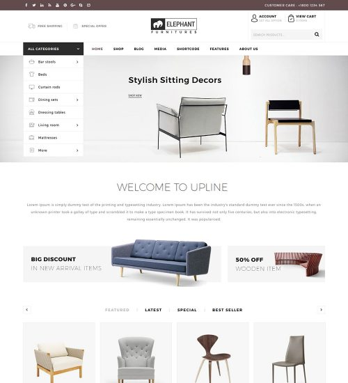 Elephant Furniture Shop eCommerce Store Ready Made WooCommerce Website Theme