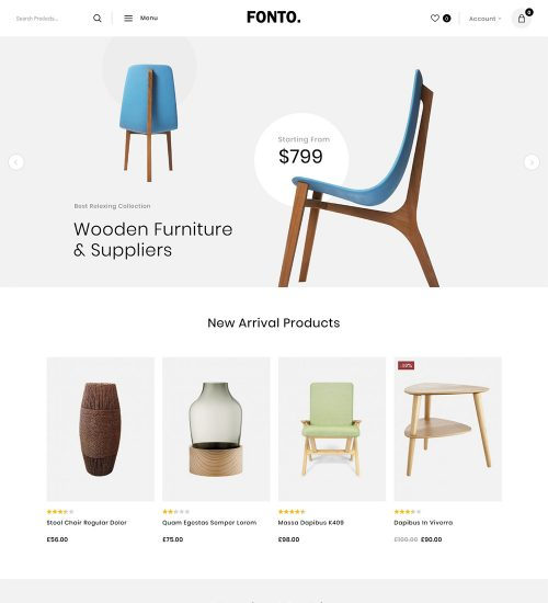 Fonto Modern Furniture Shop eCommerce Store Ready Made WooCommerce Website Theme