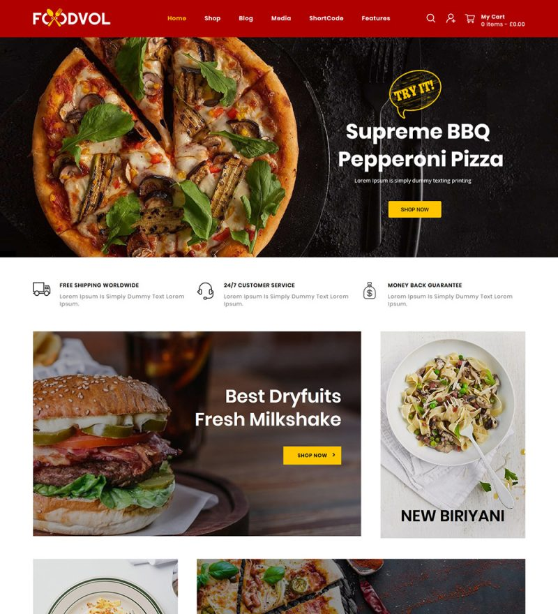Foodvol Food Online eCommerce Store Ready Made WooCommerce Website Theme