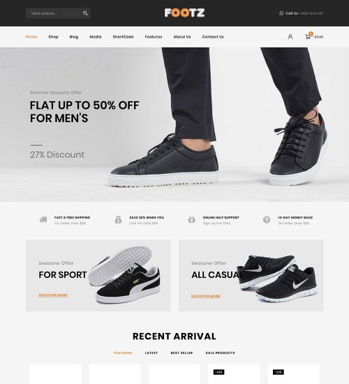 Footz Shoes eCommerce Store Ready Made WooCommerce Website Theme