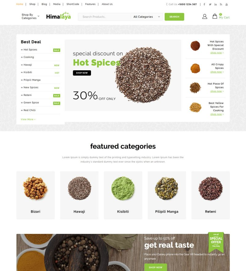 Himalaya Spice Online eCommerce Store Ready To Use WooCommerce Website Theme