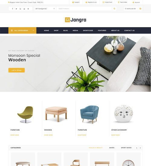 Jangra Furniture Shop eCommerce Store Ready Made WooCommerce Website Theme