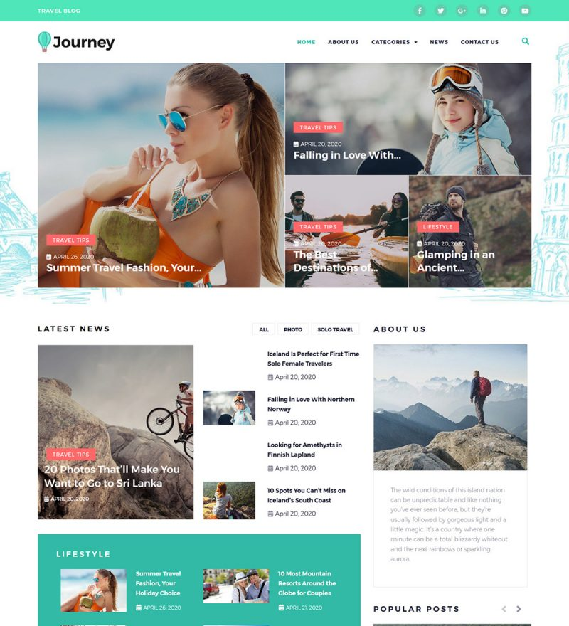 Journey Travel And Lifestyle News Ready Made WordPress Blog Website Theme
