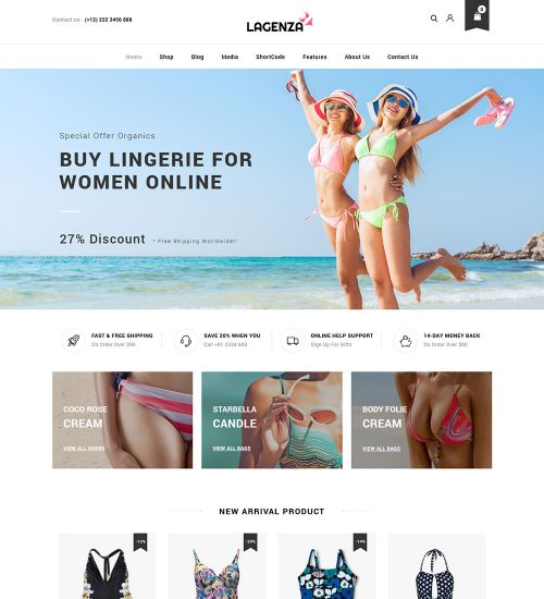 Lagenza Lingerie Panties Online eCommerce Store Ready Made WooCommerce Website Theme