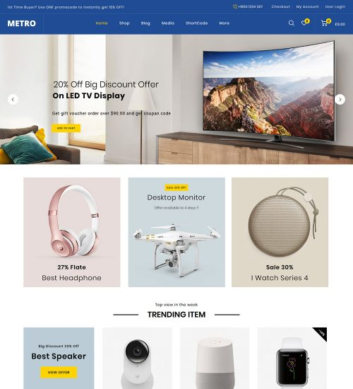 Metro Electronic Mega Store Online eCommerce Ready Made WooCommerce Website Theme