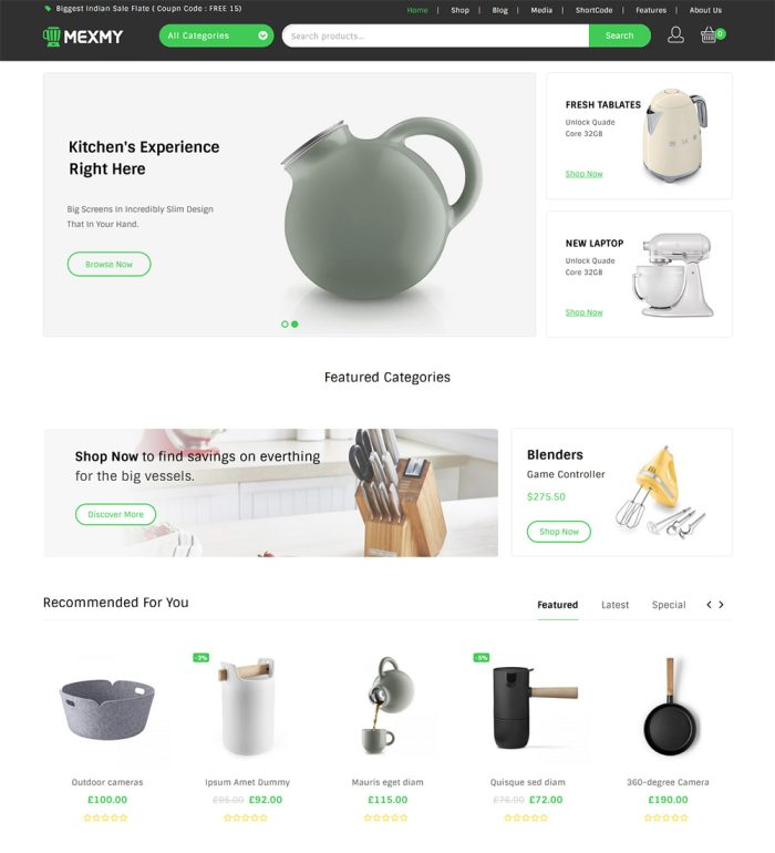 Mexmy Kitchen Appliances eCommerce Store Ready Made WooCommerce Website Theme