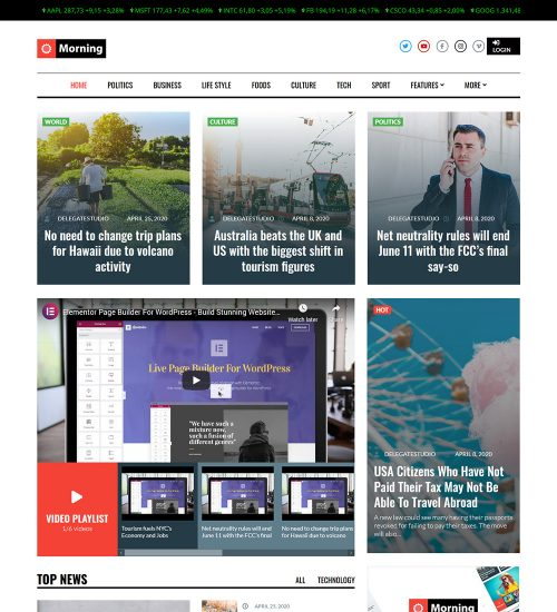 Morning Business News Ready Made WordPress Blog Website Theme