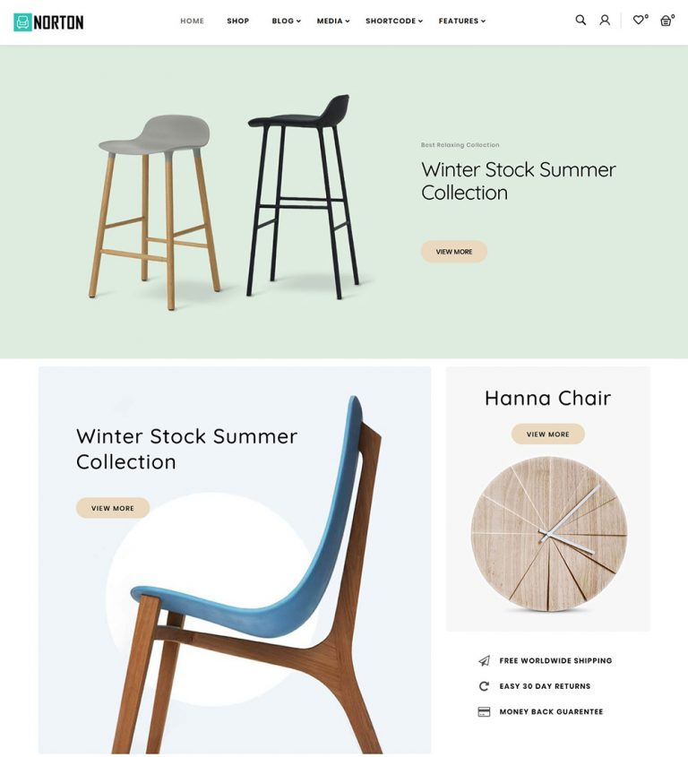 Norton Online Furniture Shop eCommerce Store Ready Made WooCommerce Website Theme