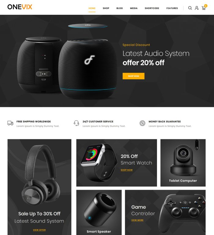 Onevix Digital Product Online Shop eCommerce Store Ready Made WooCommerce Website Theme