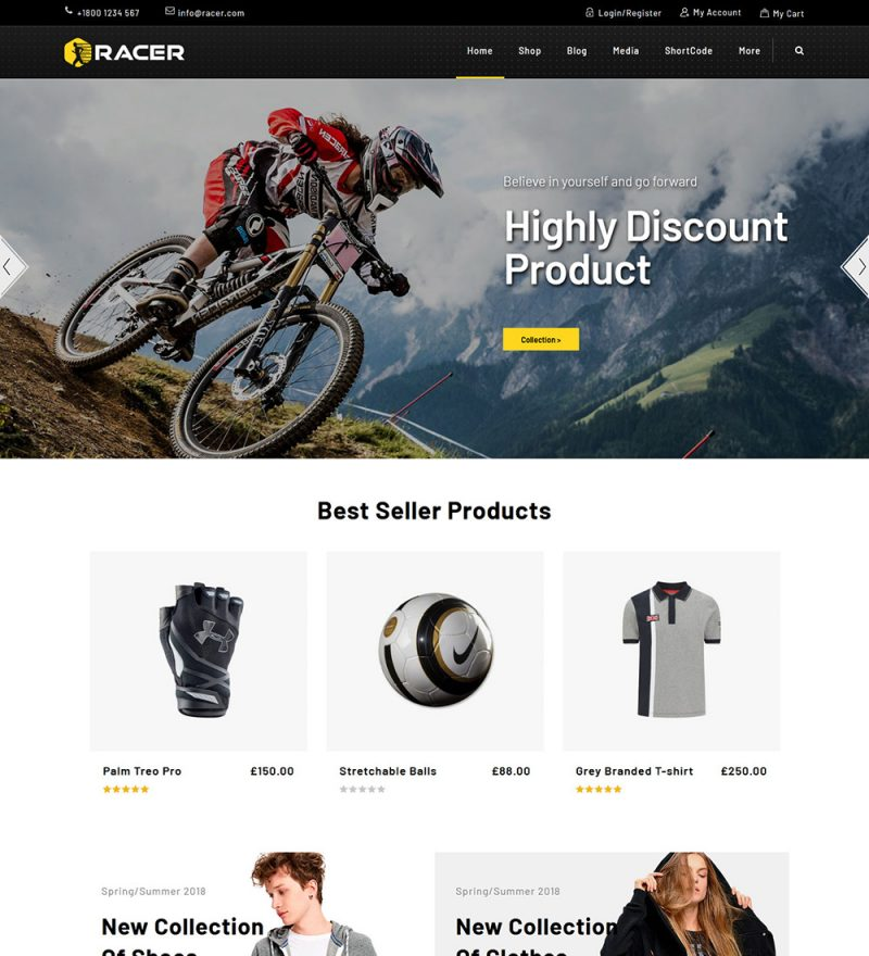 Racer Sports Equipment Products Online eCommerce Store Ready Made WooCommerce Website Theme
