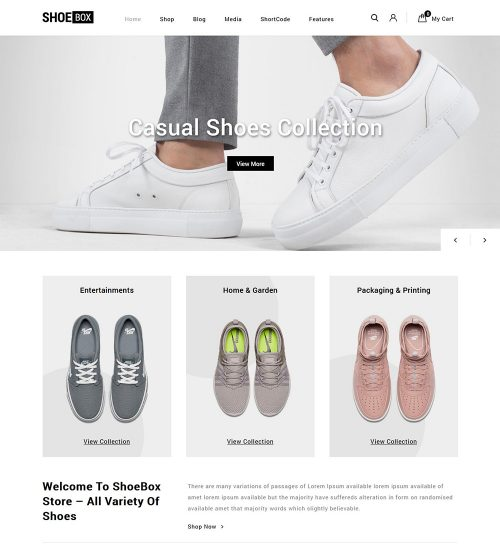 Shoebox Footwear eCommerce Store Ready To Use WooCommerce Website Theme