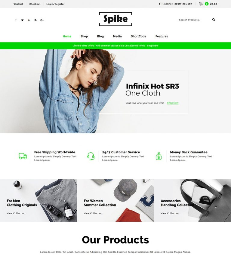 Spike Tshirt Jeans Multipurpose Online eCommerce Store Ready To Use WooCommerce Website Theme